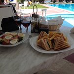 Lovely swimming pool,food and wine