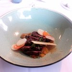 Wild duck, pear, pickled pear, candied leek and assorted root vegetables