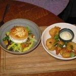 Goat's cheese salad and tempura prawns