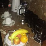 In-room tea, coffee and fruit supply
