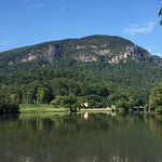 lake lure and chimney rock in background