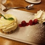 Cheesecake with oatmeal crust.