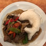 beef strips and veggies with rice