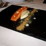 smoked salmon with lemon jelly and brown bread ice cream