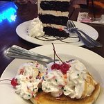 Banana split and Black Forrest cake