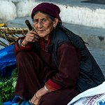 Vegetable seller in town square of Leh