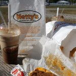 The Netty's experience, chili dogs, fries and a root beer float.