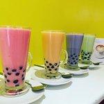 colourful bubble tea