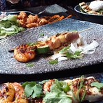 Soy and Ginger marinated Seafood skewers