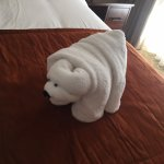 Bear towel on the bed upon checkin