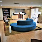 Newly renovated front desk, lobby and market