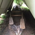 Hand made aboriginal dug out canoe. Carving tools were made by the black smith on site.