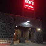 Doe's at night.