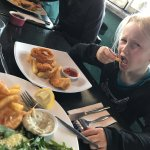 Child's meal and fish and chips with salad