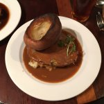 Top Side of Beef with a Blue Cheese Sauce and Yorkshire Pudding
