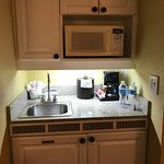 Kitchenette with microwave, coffee maker and sink