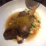 Lamb Shank with Vegetable Orzo Pilaf