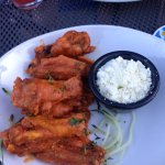 Spicy wings with yogurt dressing and they're gluten free!