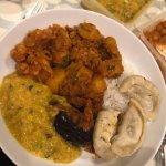 Vegan curries (veg momos not Everest, frozen from home)