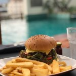 Hamburger at Pool