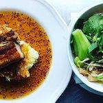 Lunch in a bit of Asian style. Ramen soup, fried bacon, puree, mustard sauce