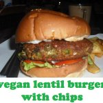Vegan lentil burger with fries