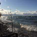 Crashing waves on Little Traverse Bay with Petoskey breakwater