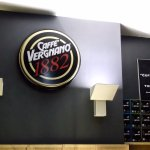 Caffe Vergnano interior, with 'Coffee shop of the Year' sign