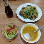 Dang Gui Linguine, with soup and salad.