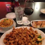 Fried Crawfish Tails, side of Jambalaya, and a cheap red blend.