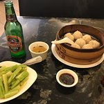 Amazing lunch - soup dumplings and cucumber salad