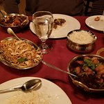 Far: beef and mixed vegetables, near: Chicken Manchurian.
