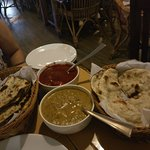 Mouth watering dinner - Shark Xacuti and King fish Vindaloo with Garlic Naan