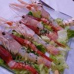 Raw shrimps.