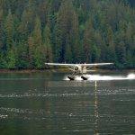 The sea plane landing