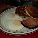 Kathie's Combo with ham, and three more different pancakes