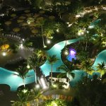 Evening view from room of pool