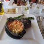 Steak with Lobster Mac and Cheese (to die for)