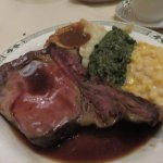 Prime rib Lawry's cut w/ creamed corn and spinach.