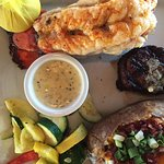 Surf and Turf with loaded baked potatoe.