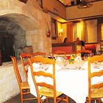 The Stone Fireplace In the Dining Room