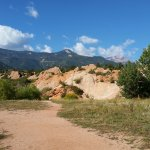 Pikes Peak is to the right in the picture. It is quite visible from many areas in the park.