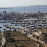 The view from the hotel terrace to the beautiful port of Mgarr
