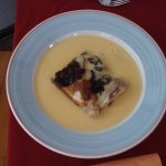 Bread and butter pudding and custard.