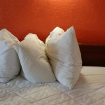 the pillows were placed this way on the made up bed (that was sloppy) so we looked at the sheets
