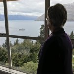 The wife looking out of our room at the TSS Earnslaw