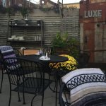 Outdoor patio seating at Luxe. A blanket at each table as the September evening cooled off!!