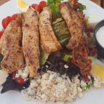 Grilled chicken cobb salad with blue cheese dressing! SO GOOD.