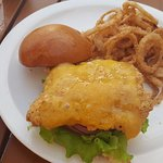 Fried grouper sandwich with homemade onion rings. The hubs loved it.