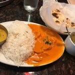 Lunch Chicken Tikka Masala comes with Naan and soup
